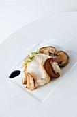 Fried monk fish with porcini mushrooms and garlic jam