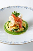 Risotto with sward fish, prawns and lemon