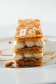 Mile feuilles with vanilla cream and gold leaf