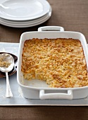 Funeral Potatoes; Potato Casserole in a Baking Dish