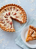 Peaches and Cream Pie; Pie in Plate with Slice Removed; Piece on a Plate