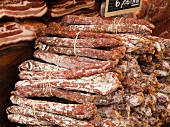 Dry-Cured Sausages at the Chamonix Saturday Morning Market; Haute-Savoie, France