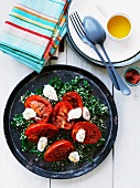 Grilled tomatoes with labneh on spinach-bulgur