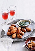 Tomatokeftedes with herb sauce (Greek tomato dumplings)