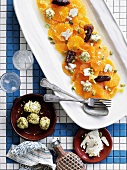 Orange salad with dates, halvah and pistachio yogurt (Greece)