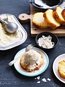 Caramelized pineapple slices with coconut ice cream