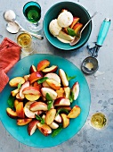 Stone fruit salad with dessert wine and buttermilk ice cream
