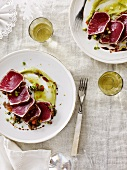 Tuna fish slices (roasted briefly) with vinaigrette