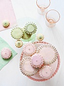 Sugar Cookies with Decorative Pink and Green Icing and Silver Ball Decorations