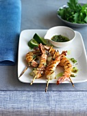 Grilled Shrimp on Wooden Skewers with an Herb Sauce