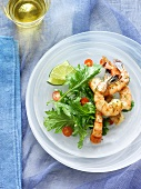 Grilled Shrimp with Leafy Green Salad