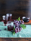 Fresh Grapes with Grape Juice and Grape Jam