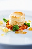 Vol-au-vent on a bed of vegetables