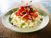 Risotto ai capperi (risotto with bacon and capers, Italy)
