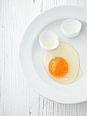 Broken duck egg on a plate