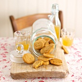 Ginger biscuits in fallen over jar