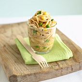 Pasta salad with chicken, sweetcorn and peas