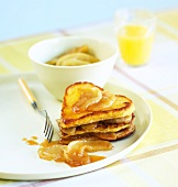 French toast with caramelised apples for Valentine's Day