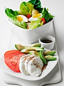 Tomatoes with mozzarella and avocado and a mixed leaf salad with egg
