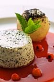 Poppyseed dumpling and a a poppyseed parfait with rowan berry sauce