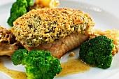 Catfish with a hazelnut crust, cauliflower mushroom and broccoli