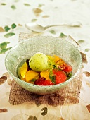 Citrus fruit compote with basil sorbet