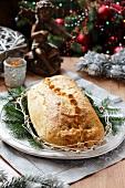 Kulebiak (gefüllte Teigtasche, Polen) zu Weihnachten