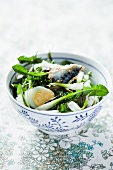 Dandelion salad with mackerel and egg