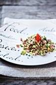 Tuna tartar with beef and caviar