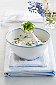 Cream of Brussels sprouts soup with parsley