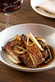 Roasted Chicken with Fennel; Glass of Red Wine