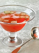 Venetian Punch Royale with Sliced Cucumbers in Punch Bowl