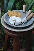 Cheese, crackers and a cheese knife outside on a stool