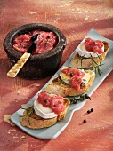 Toasted baguette with soft cheese and rhubarb chutney