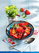 Rhubarb and strawberry compote with woodruff