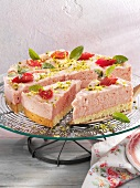 A rhubarb and cream cake