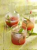 Rhubarb juice with mint and lime