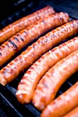 Grilled Bratwurst on Grill with Flames