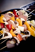 Uncooked Chicken and Vegetable Kabobs