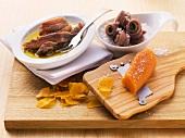 Sardine fillets in oil and salt with bottarga