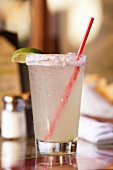 Margarita in a Glass with a Salted Rim and a Red Straw