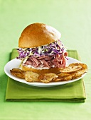 Ham and Cole Slaw Slider Sandwich with Homemade Chips