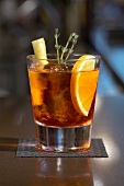 Garnished Glass of Negroni Sbagliato