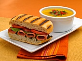Grilled Ham Sandwich and Soup