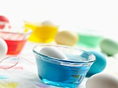 Dying Easter Eggs; Egg in Blue Dye