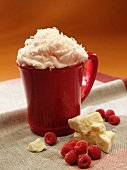 Hot White Chocolate with Raspberry and Whipped Cream
