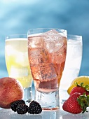 Sparkling Italian Strawberry Soda in a Glass; Fresh Fruit