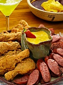 Fried Chicken and Kielbasa Platter with Southwestern Dipping Sauce