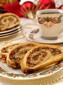 Walnut Rolls on a Christmas Plate