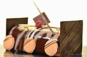 Chocolate roll decorated with macaroons